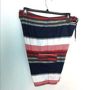O'NEILL 34 S Swim Shorts Trunks Striped Navy NWOT